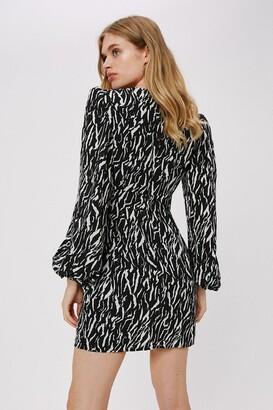 Nasty Gal Womens Zebra Balloon Sleeve Mini Dress - Black - 10