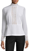 Yigal Azrouel Long-Sleeve Lace-Inset Peplum Top, Optic White