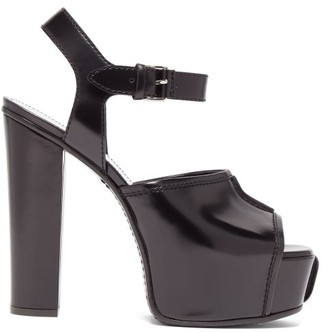 Givenchy Topstitched Patent-leather Platform Sandals - Womens - Black