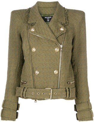 Balmain Tweed Biker Jacket