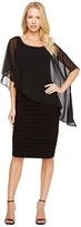 Adrianna Papell Chiffon Drape Overlay With Banding (Black) Women's Dress