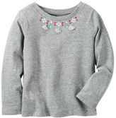 Carter's Long-Sleeve Embellished Necklace Tee