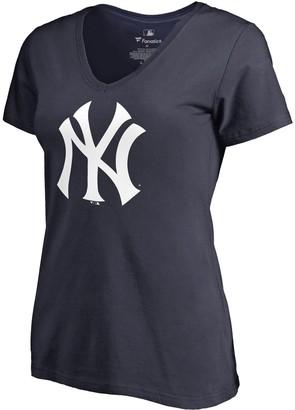 New York Yankees Women's Fanatics Branded Navy Team Primary Logo V-Neck T-Shirt