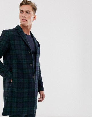 Selected recycled wool overcoat in blackwatch check-Navy