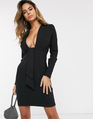 Vesper deep plunge neck mini dress in black