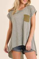 Umgee USA Striped Split Top