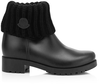 Moncler Ginette Wool Knit Cuff Rubber Boots