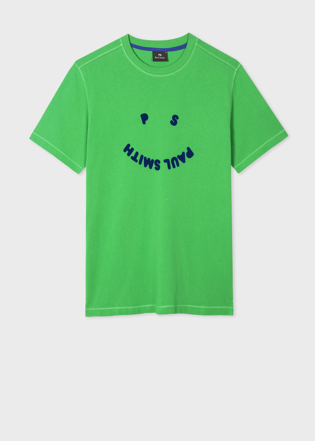 Paul Smith Men's Green 'PS Happy' Organic Cotton T-Shirt