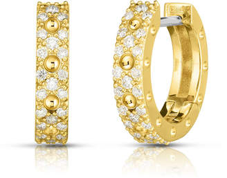 Roberto Coin Pois Moi Luna 18k Gold Diamond Hoop Earrings