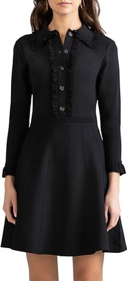 Shoshanna Victoria Button-Up Frill Dress