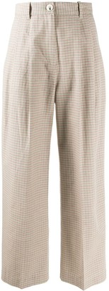Wood Wood Checked Wide-Leg Trousers