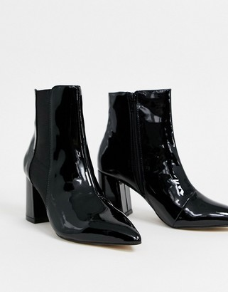 Lipsy almond toe ankle boot in black patent