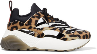Stella McCartney Eclypse Cutout Neoprene And Printed Velvet Exaggerated-sole Sneakers