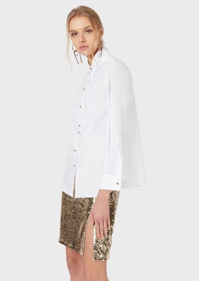 Emporio Armani Stretch Poplin Shirt With Plastron