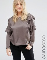 Asos Satin Top with Ruffle Trim