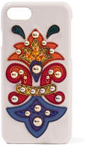 Dolce & Gabbana Embellished Appliquéd Textured-leather And Ayers Iphone 7 Case - White