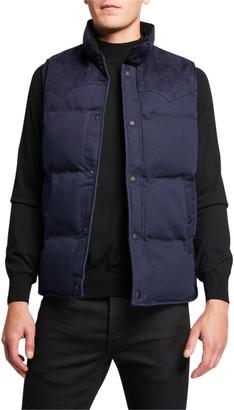 John Varvatos Men's Decker Denim Puffer Vest