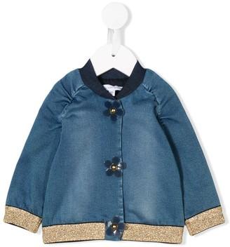 Little Marc Jacobs floral buttoned denim bomber jacket