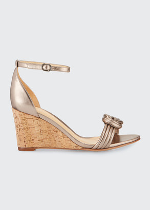 Alexandre Birman Vicky 75mm Leather Wedge Sandals