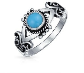 Bling Jewelry Bali Boho Ring Band Blue Enhanced Turquoise 925 Sterling Silver Ring