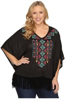 Roper Plus Size 0612 Solid Sweater Jersey Poncho