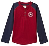 Converse Red Long Sleeve Graphic Henley Top