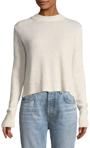Derek Lam 10 Crosby Long-Sleeve Pullover Sweater with Back Ring Detail