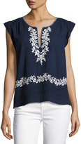 Joie Mandel Embroidered Cap-Sleeve Top, Blue