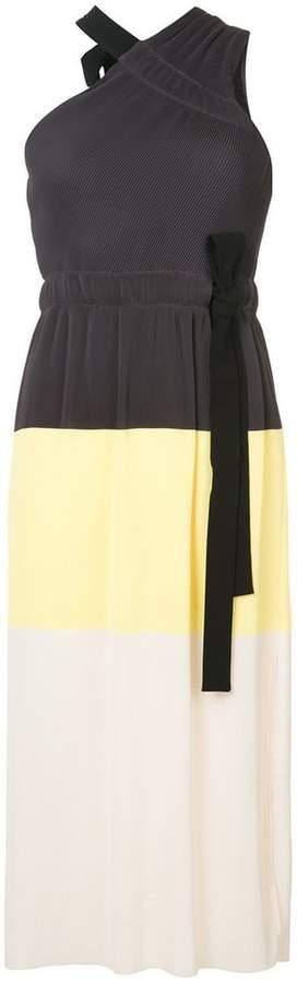 Derek Lam 10 Crosby Colorblocked One Shoulder Pleated Dress