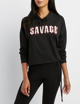 Charlotte Russe Savage Lace-Up Cropped Hoodie