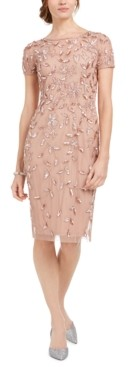 Adrianna Papell Embellished-Floral Sheath Dress