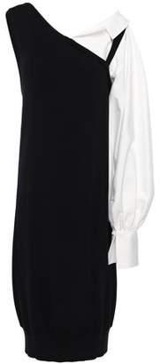 ADEAM Convertible Poplin-paneled Knitted Midi Dress