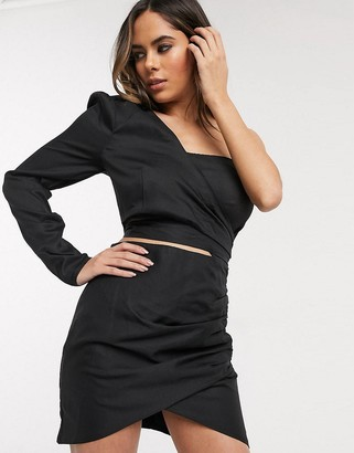 In The Style puff sleeve wrap dress in black