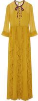 Gucci Embellished Silk-chiffon Gown - Mustard