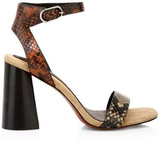 Joie Odeum Snakeskin-Embossed Ankle-Strap Sandals