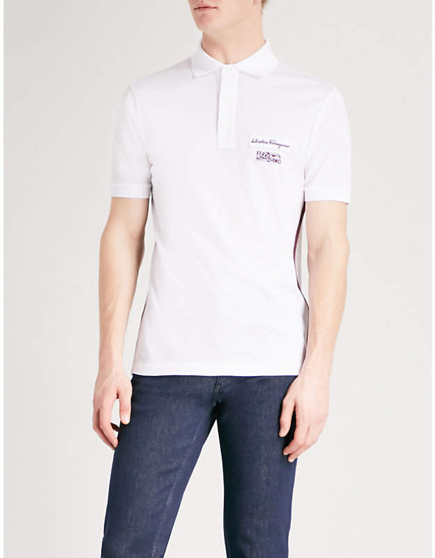Salvatore Ferragamo Logo-patch cotton-piqué polo shirt