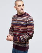 Barbour Jumper With Fair Isle Pattern In Red