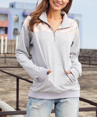 Luukse Women's Pullover Sweaters 101HEATHER - Heather Gray & Pink Cats Kangaroo-Pocket Pullover - Women & Plus