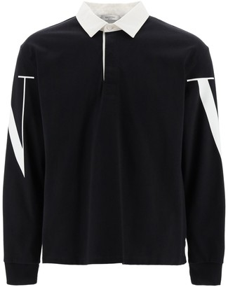 Valentino vltn print jersey polo shirt