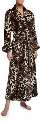 Natori Leopard-Print Faux Fur Long Robe