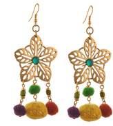 Zephyrr Fashion Gold Tone Floral Hook Dangler Earrings with Pompoms For Girls