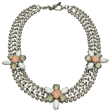 Yochi Triple Ornament Flat Chain Necklace with Opal Crystals