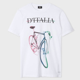 Paul Smith Men's White 'D'Italia' Print Organic-Cotton T-Shirt