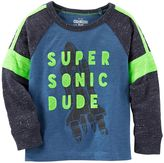 Osh Kosh Toddler Boy Raglan Long Sleeve Pieced Graphic Tee