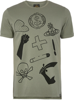 Vivienne Westwood Anglomania Green Classic T-Shirt Logo Mix Size M