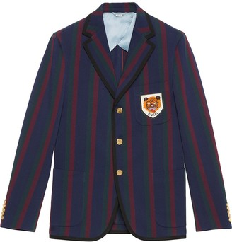 Gucci Striped cotton jacket with patch