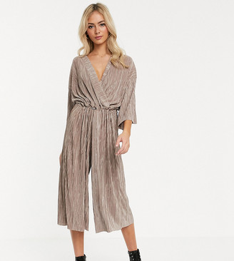 Another Reason relaxed wrap front jumpsuit with toggle tie in crinkle fabric