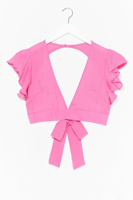 Nasty Gal Womens Take It From V-Neck Crop Top - Pink - L