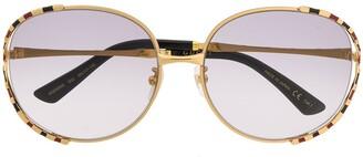 Gucci Round-Frame Striped Sunglasses
