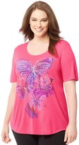 Just My Size Women`s Plus-Size Short-Sleeve Scoop-Neck Graphic T-Shirt, J350
